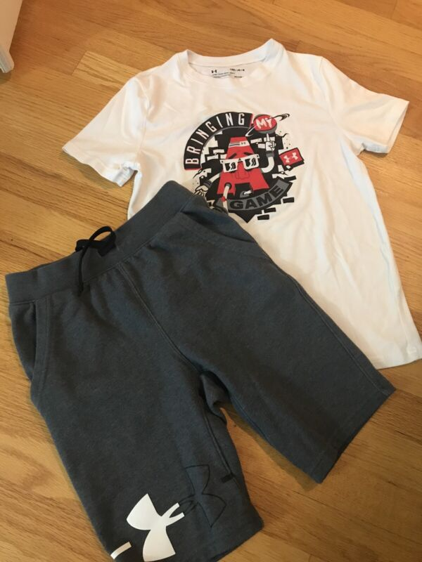 Under Armor Boys Short Sleeve White Shirt And Pull On Shorts Outfit, Size YMD