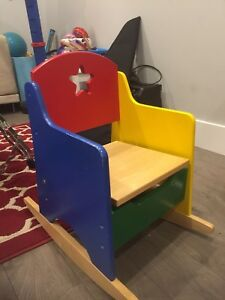 Guidecraft Real Wood Child's Rocker with Storage- Multicolor