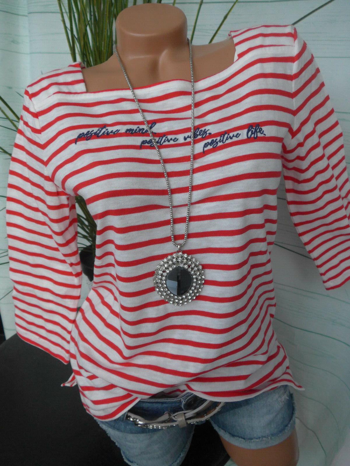 Esprit EDC Shirt Bluse streifen Optik Damen Gr. XS bis XXL weiß rot (007) NEU