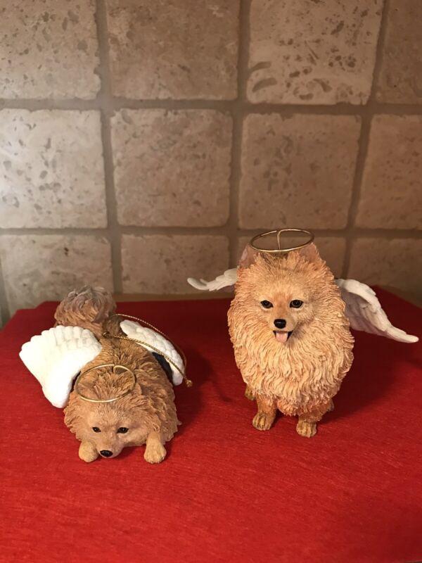 Set of 2 Pomeranian Angel Dog Ornaments