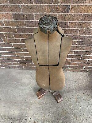 Vintage Dress Form - Adjustable With Wood Base
