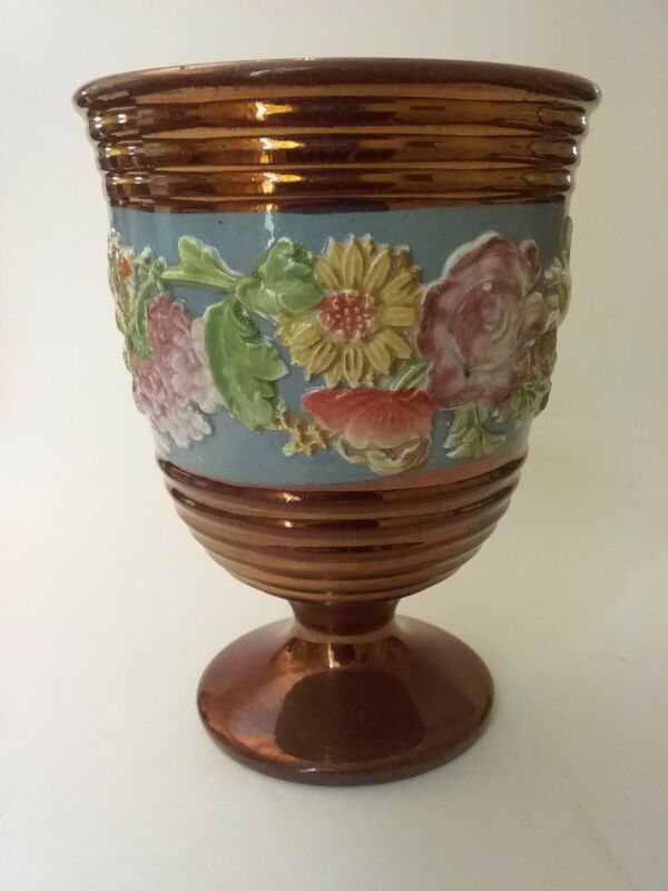 Antique Copper Lustre Footed Goblet Chalice Cup W/ Floral Relief, Staffordshire