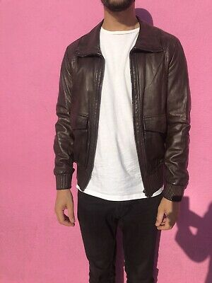 Authentic burberry leather jacket Brown m/l