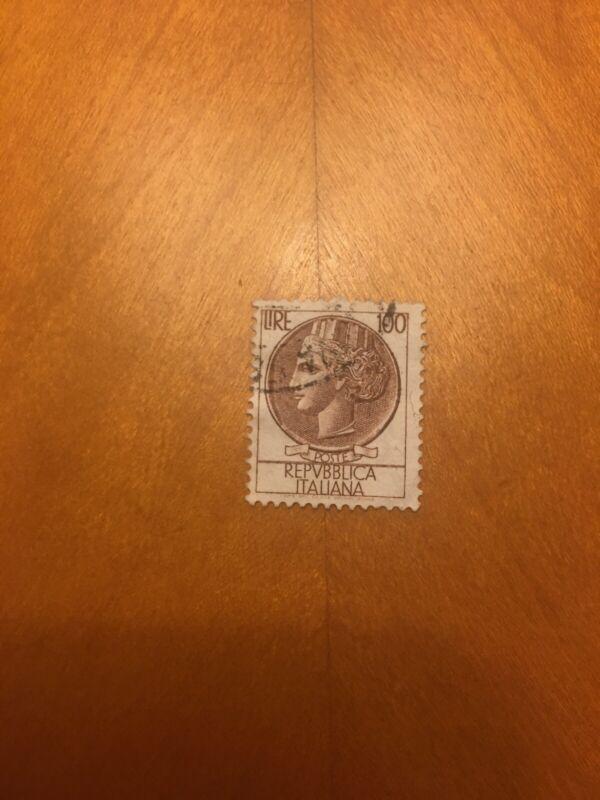 Rare! Italian Stamp The 100 Lire / Used