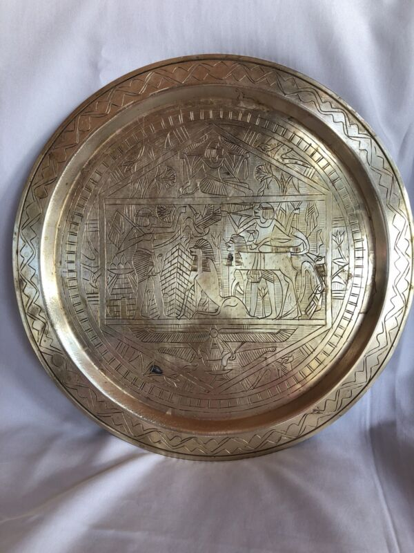 Antique Solid Brass Wall Plate Ancient Eygypt Engraved 14 Inch Tray RARE!!!