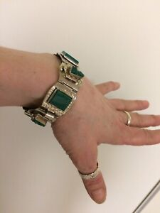 Beautiful sterling silver and green stone bracelet