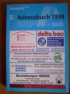 adressbuch 1999 kempten allg u mit stadtplan ebay. Black Bedroom Furniture Sets. Home Design Ideas
