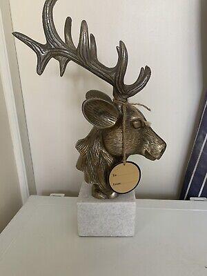 Elk Deer Bronze Marble Base Statue Stag Bust Head