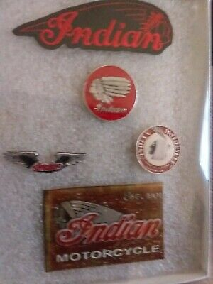 vintage collectable INDIAN MOTORCYCLE 3 PINS plus patch , and magnet GIFT BOX