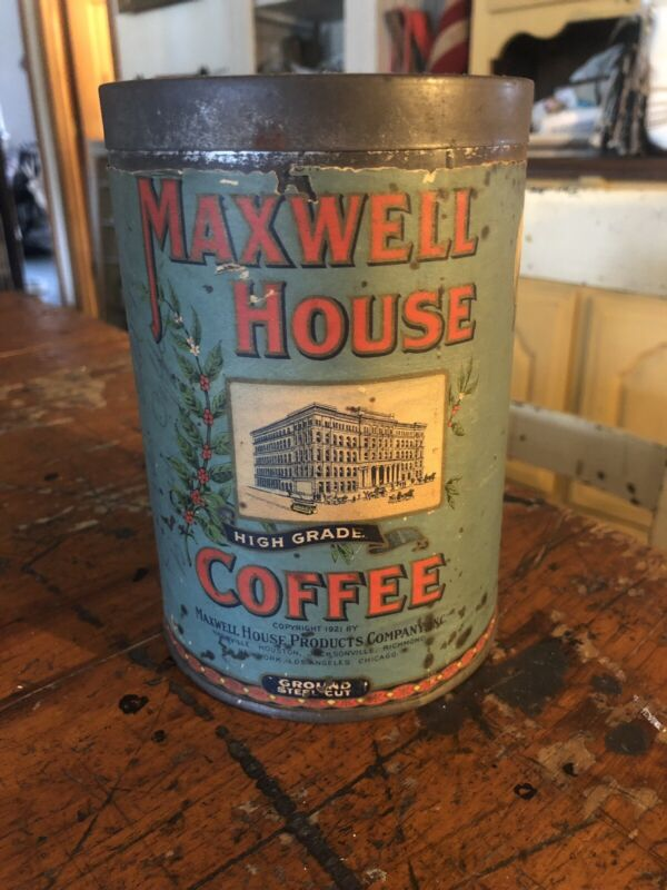 1921 Maxwell House Paper Label Coffee Can