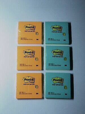 Lot Of 6 Post-it Notes - Super Sticky Pads - 3 Of Each Various Colors 3x3