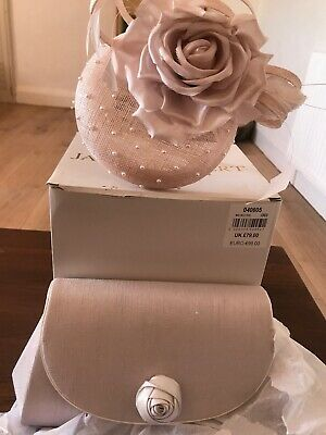jacques vert FACINATOR HAT AND CLUTCH BAG BRAND NEW WEDDING OYSTER COLOUR