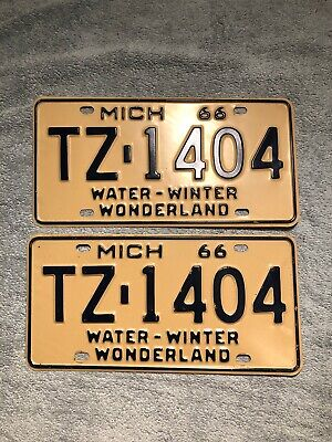 Water Winter Wonderland (1966 Michigan License Plate Pair TZ-1404 Water Winter)