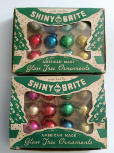 VINTAGE SHINY BRITE FEATHER TREE GLASS ORNAMENTS ASSORTED COLORS