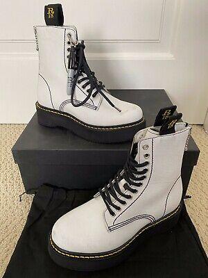 NIB R13 Doodle Stack White Canvas Platform Sole Lace Up Combat Boots 36 6 $995
