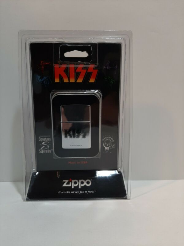 KISS Band Logo Silver Zippo Lighter Sealed 1998 Gene Ace Peter Paul. NEW