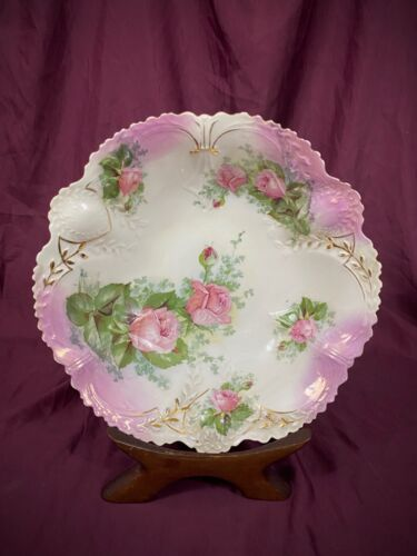 """Antique PS Germany Porcelain Hand Painted Pink Roses Bowl Scalloped Edge 10"""" EUC"""