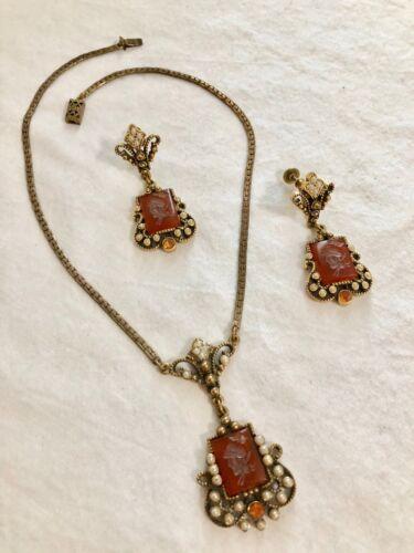 Vintage Necklace and Earrings.  Carnelian Glass Intaglio.  Beautiful!
