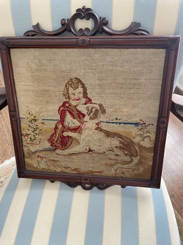 """Antique Edwardian child and dog Framed Needlepoint 16"""" X 19"""""""