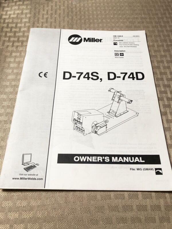 MILLER D-74S / D-74D owner's manual
