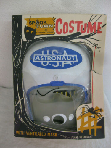 Vintage SPOOK TOWN Halloween COSTUME in Box USA ASTRONAUT mask & costume 1960