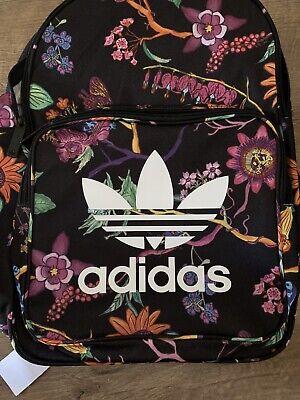 Adidas Black Floral Nature Laptop Backpack Work School GYM Bag Womens Rucksack
