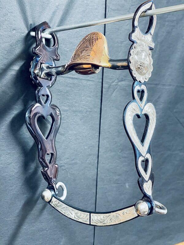 Fleming Heart Shaped Cheek Plates And Blue Iron Inlaid Bit