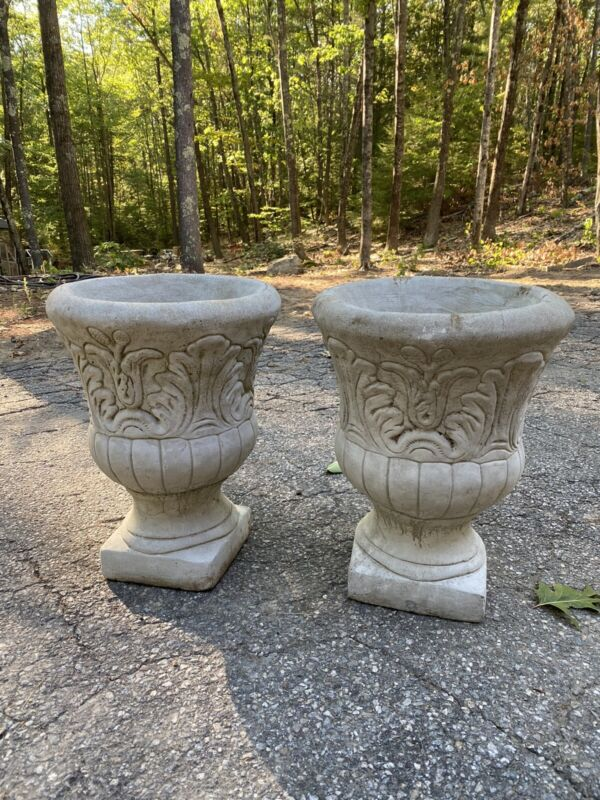 PAIR Of Vintage Cement Urn/Garden Planters