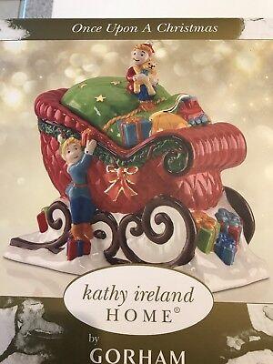 Kathy Ireland Gorham Once Upon A Christmas Sleigh Centerpiece Cookie Jar NIB