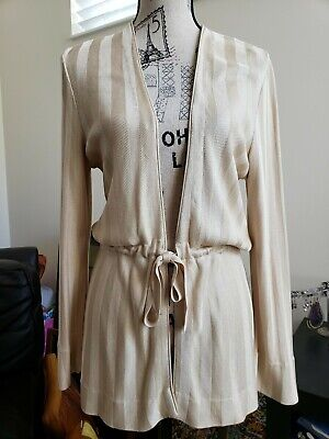 Vintage 1980s Gucci Silk Knit Cardigan Cream Cover Up Robe Elegant Sz 44 Sweater