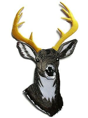 - Large Deer Head Embroidered Iron On Patch Applique 8 Inch