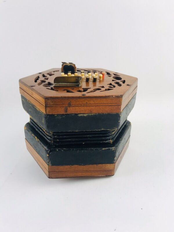 Vintage Wood Concertina Button Squeeze Box Mini Accordion Lachenal & Co London