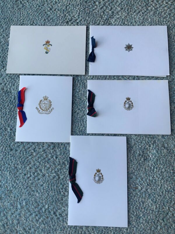 Lot of 5 Authentic British Military Christmas Cards, Dental Corps, REME, RAR