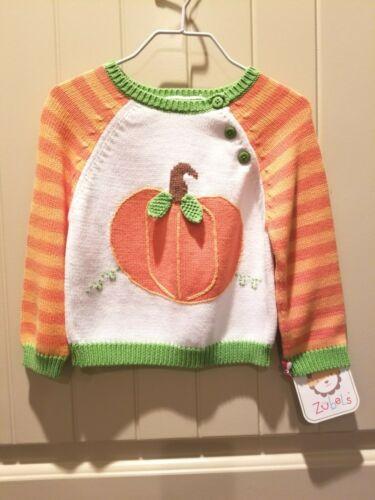 NWT Zubels Harvest Pumpkin Girls Sweater Size 6M 12M White and Orange Stripe #77