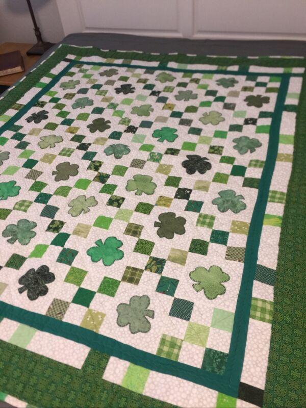 Irish Chain Handmade Quilt w/ Shamrocks