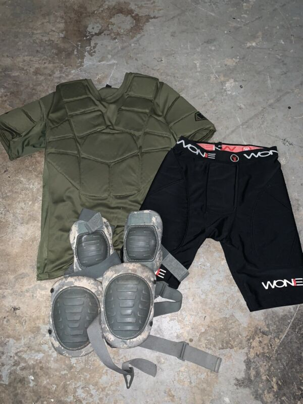 Empire BT Paintball Chest Protector Olive padded shorts and knee elbow pads lot