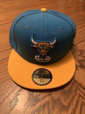 NEW ERA CHICAGO BULLS HARDWOOD CLASSIC BLUE/GOLD NBA HAT CAP SZ 7 5/8 WINDY CITY