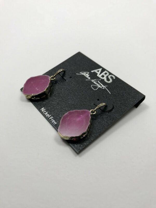 100% Authentic New ABS by Allen Schwartz Dipped Agate Pink Earrings