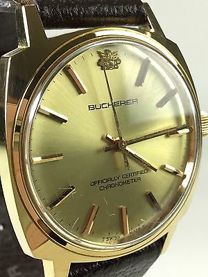 Vintage Bucherer Officially Certified Chronometer Gold Works Mens or Womens