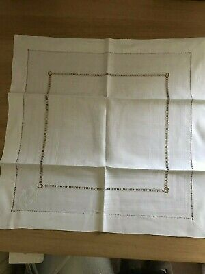 Small square table cloth embroidery on white damask