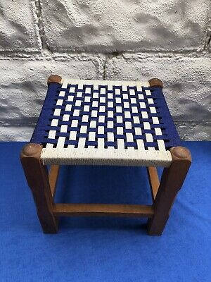 Mid Century Blue And White Footstool With Woven Top