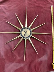 """28"""" Large Vintage Mid Century Sessions  Electric Wall Clock Starburst Excellent"""