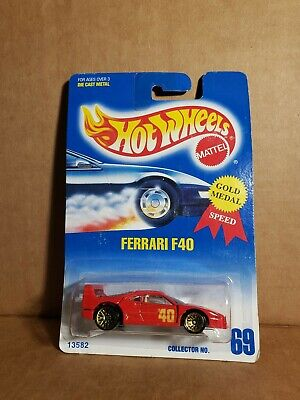 🏁 Hot Wheels 1991 Red Ferrari F40 - Gold Medal No.69 🏁