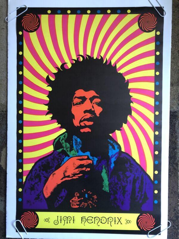 Jimi Hendrix Vintage Blacklight Poster Psychedelic 60s Music Black Light Pinup