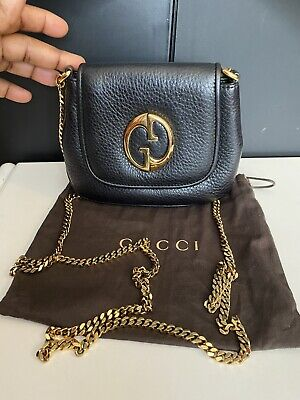 Authentic Black Gucci Leather Gold Chain Cross Body bag With Dust Bag