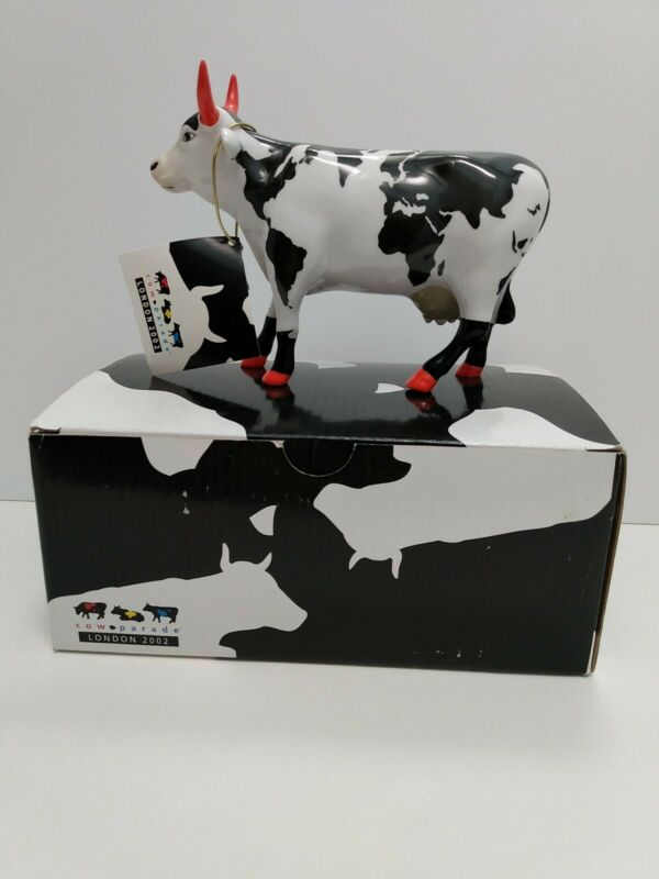Cow Parade Westland 6001 Celtic Mercator w/Original Box/Tag London 2002 Retired