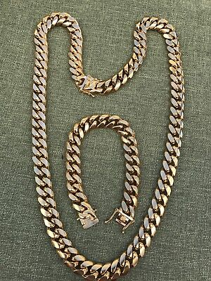 14mm Men Cuban Miami Link Bracelet & Chain Set  18k Gold Plated Stainless Steel