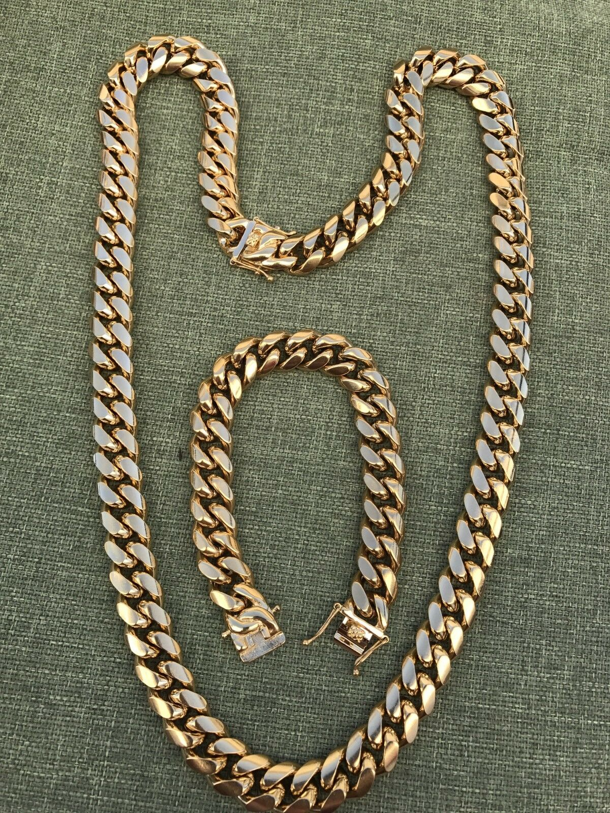14mm Men's Miami Cuban Link Bracelet & Chain Set 18k Gold Pl