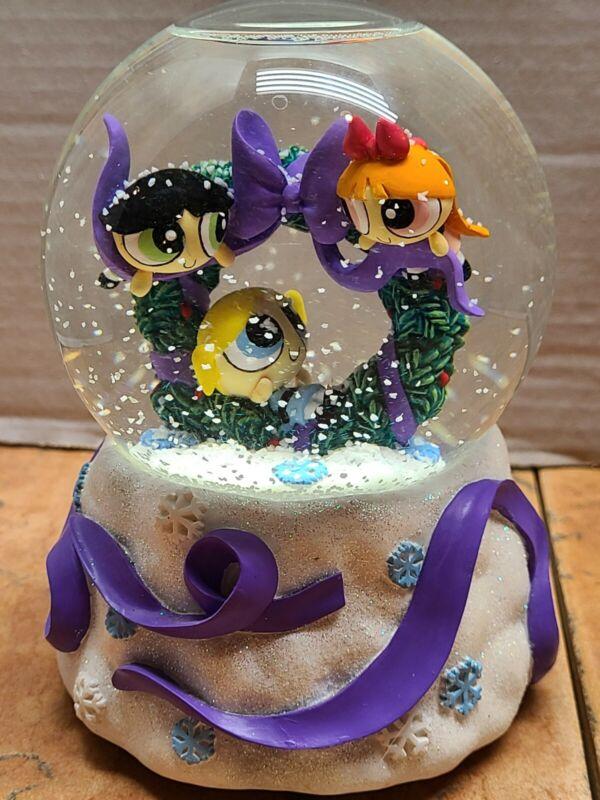 Vintage Powerpuff Girls Snowglobe Musical Holiday Christmas Cartoon Network