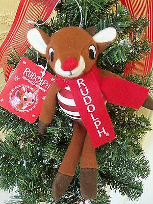 RUDOLPH THE RED NOSED REINDEER BLOWN GLASS & FELT CHRISTMAS ORNAMENT